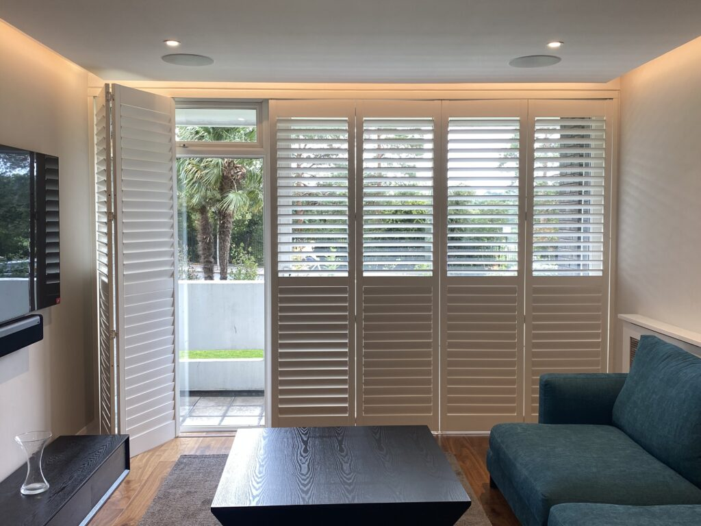 Contemporary full-height plantation shutters